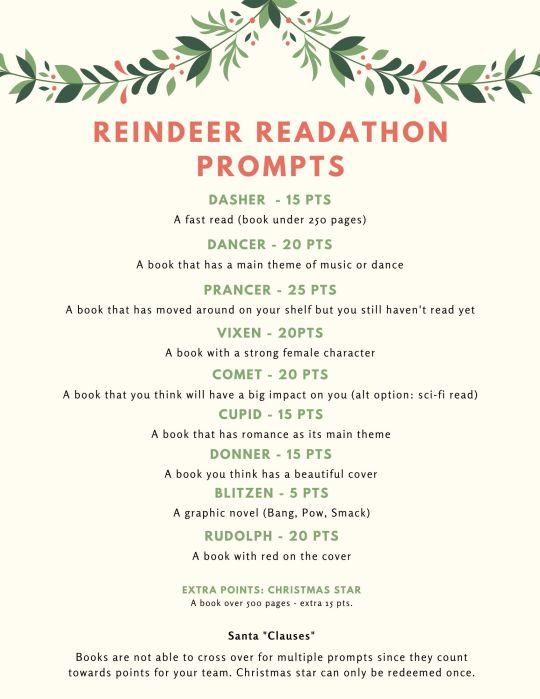Reindeer Readathon prompts